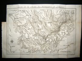Buffon & Benard 1778 Antique Map. Langres Mountains, Champagne Ardenne, France
